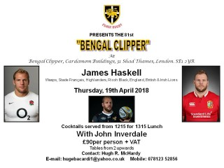 81st Bengal Clipper with Guest Speaker James Haskell         