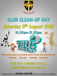 Club Clean Up Day  Saturday 11th August  10.00am-12.30pm