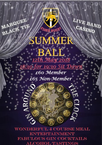 Esher Rugby 'GIN AROUND THE CLOCK' Summer Ball                                             Saturday, 12th May 2018