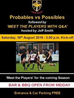 Probables vs Possibles followed by MEET THE PLAYERS - 18th August 2018