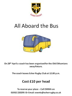 All Aboard the Bus - Saturday, 28th April - Esher vs Old Elthamians