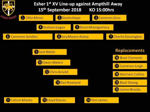 The Esher 1st XV to face Ampthill