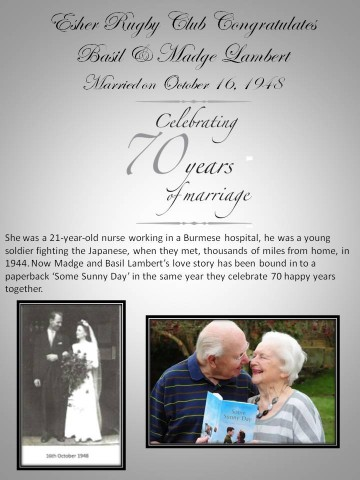 Esher Rugby Congratulates Basil and Madge Lambert on their 70th Wedding Anniversary