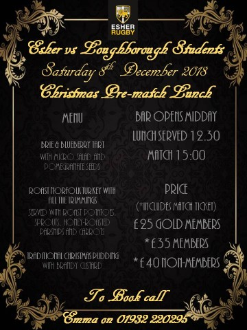 Christmas Pre-match Lunch - Esher vs Loughborough Students - Saturday 8th December 2018