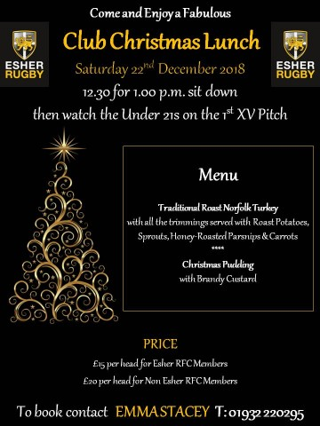 Club 2-course Christmas Lunch - then watch the u21s play - Saturday 22nd December 2018
