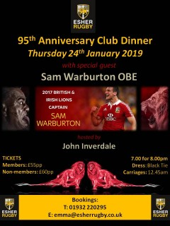 95th Anniversary Club Dinner hosted by John Inverdale with guest speaker Sam Warburton - Thursday 24th January 2019