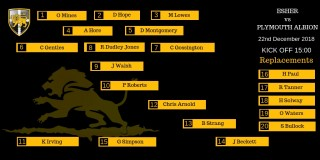 Esher 1st XV Line-up against Plymouth Albion Away - 3pm KO
