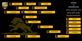 Esher 1st XV Line Up against Cinderford Away - 26th January 2019