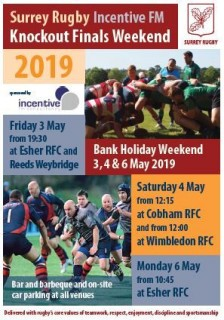 Surrey Cup Finals at Esher RFC - Monday 6th May 2019