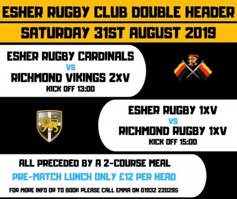Double Header: Esher vs Richmond (pre-season friendlies) preceded by a 2-course Lunch