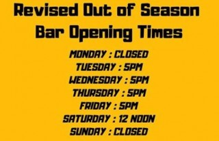 We Have Revised our Bar Opening Times. Please see below for the new times. Thank you!