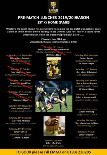 ESHER RUGBY PRE-MATCH LUNCHES 2019-2020 Season