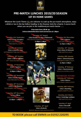 ESHER RUGBY PRE-MATCH LUNCHES 2019-2020 Season, note rescheduled fixture on 22nd February