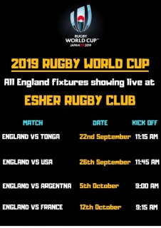 England vs Argentina this Saturday 9.00 a.m. - Bar open and breakfast available from the BBQ at Esher Rugby