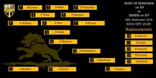 Esher 1st XV Line-up to face Bury St Edmunds Away - Saturday 28th September