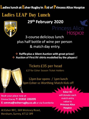 Ladies LEAP day lunch at Esher Rugby in Aid of Princess Alice Hospice - Saturday 29th February 2020