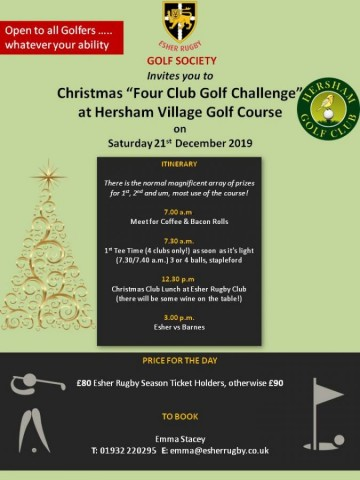 "Christmas ""Four Club Golf Challenge"" - 21st December 2019"