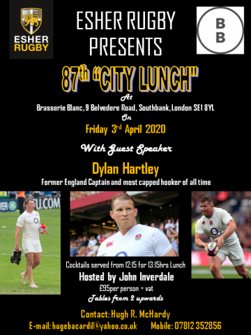 87th City Lunch with guest speaker Dylan Hartley hosted by John Inverdale - Friday 3rd April 2020