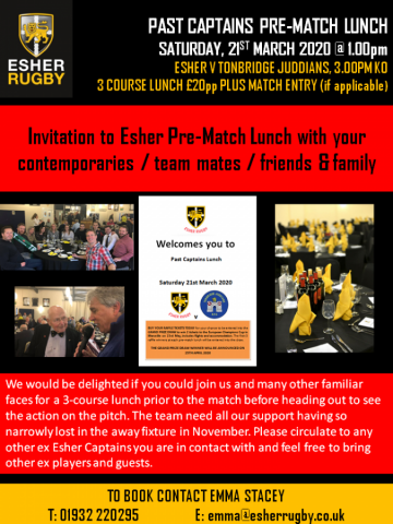 Postponed until further notice ..... Past Captains Pre-Match Lunch - Esher v Tonbridge Juddians, Saturday 21st March