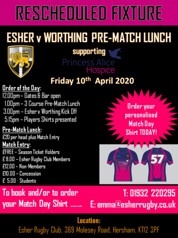 NEW DATE:  Esher v Worthing supporting Princess Alice Hospice - Good Friday, 10th April - 3pm KO