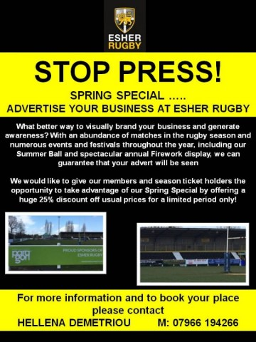 Discounted advertising offer for members this Spring