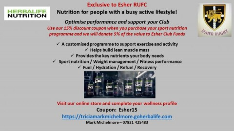 Herbalife Nutrition offer Esher Rugby members 15% discount on Sports Nutrition Programme