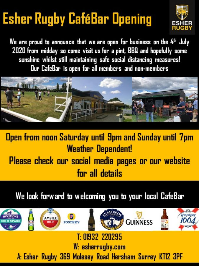 Esher Rugby Cafebar opening for all Saturday 4th July - we look forward to welcoming you