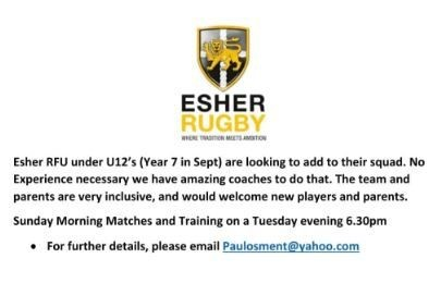 Esher Rugby Under 12s looking for more players. No experience necessary