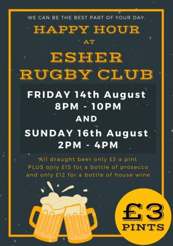 Your Happy Hour timings and Premiership Rugby at Esher Rugby this weekend 14th-16th August
