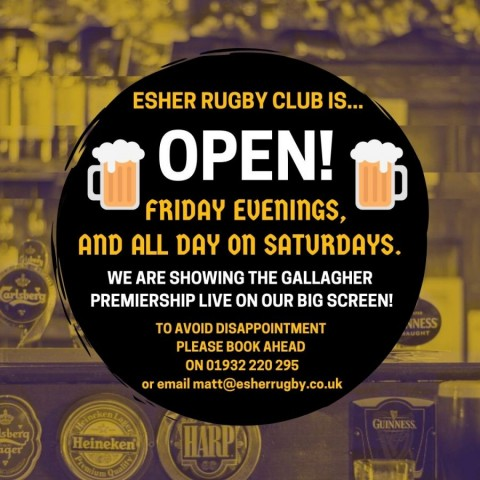 Revised opening hours for Esher Rugby Bar and Cafebar & Eat Out to Help Out