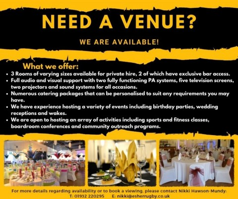 Esher Rugby - The perfect Social Distancing Event Venue for all your needs