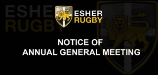 Notice of Esher Rugby Annual General Meeting 21st September 8.00 p.m.