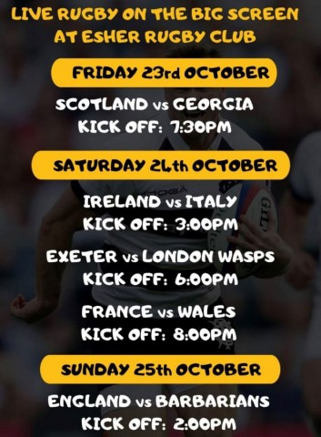 Live Rugby all this weekend. On the Big Screen at Esher Rugby