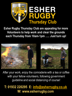 Esher Rugby Thursday Club are appealing for more volunteers