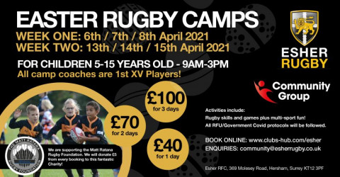 THERE IS STILL TIME TO BOOK .... Our hugely successful Rugby Camps return THIS EASTER - SIGN UP NOW!
