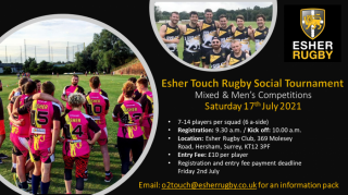 Esher Touch Rugby Social Tournament - Mixed & Men's Competitions - Saturday 17th July 2021
